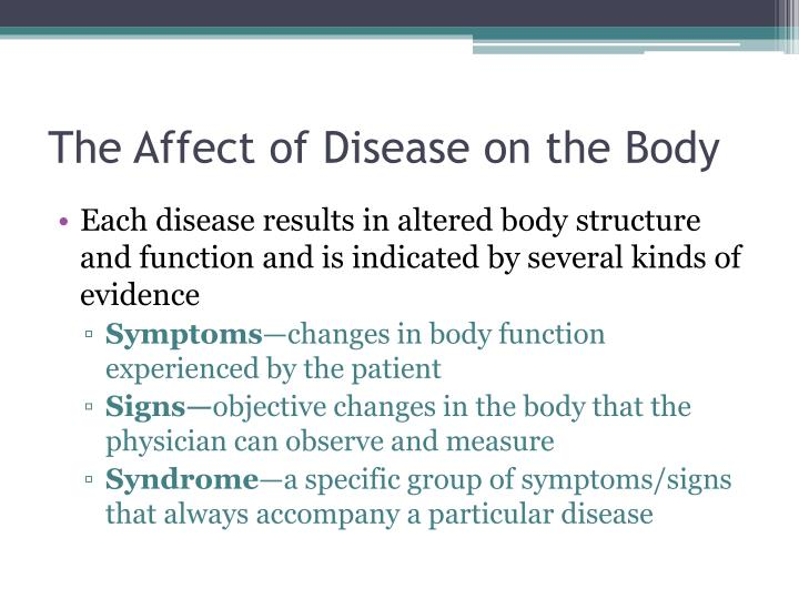 The Affect of Disease on the Body