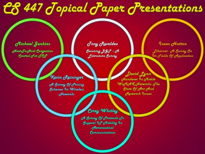 Cs 447 topical paper presentations