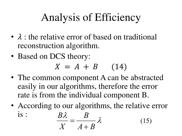 Analysis of Efficiency