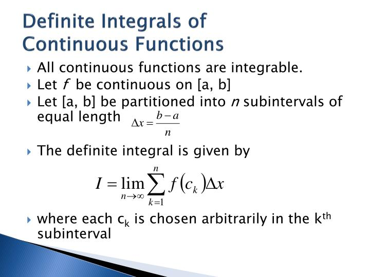 Definite Integrals of