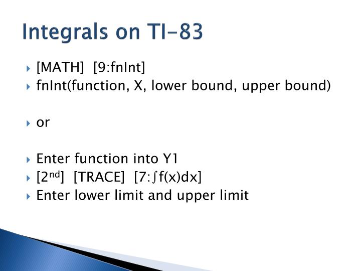 Integrals on TI-83