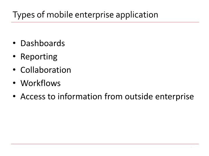 Types of mobile enterprise application