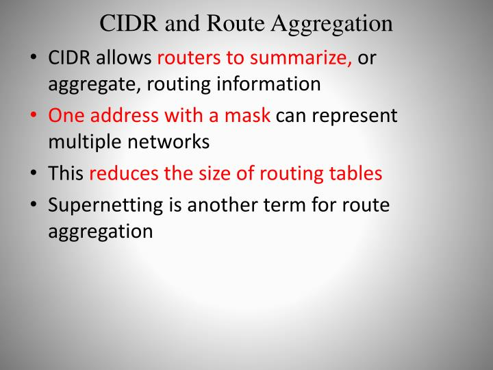 CIDR and Route Aggregation