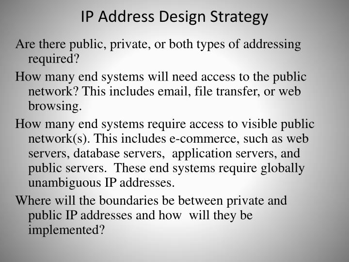 IP Address Design Strategy