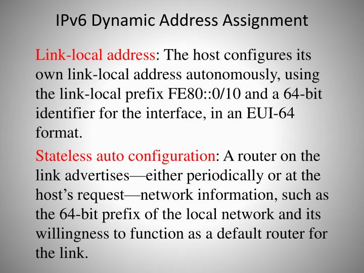 IPv6 Dynamic Address Assignment