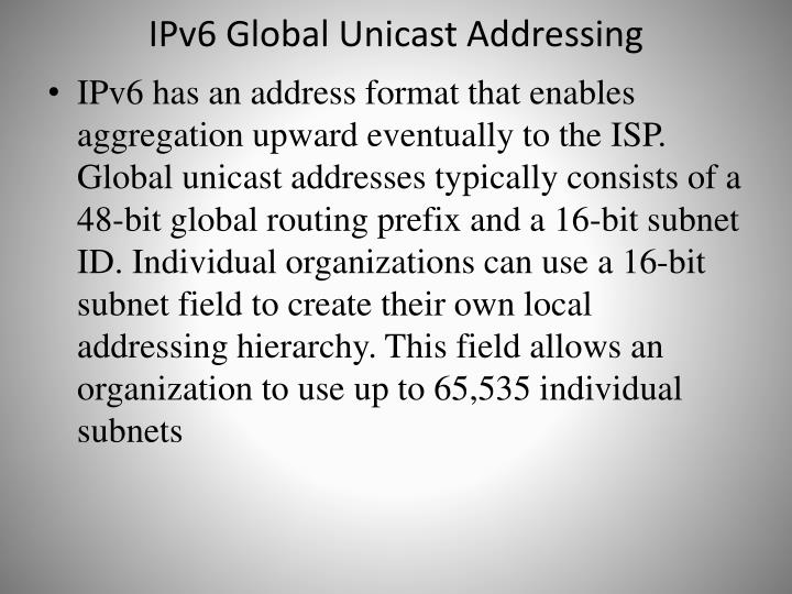 IPv6 Global Unicast Addressing