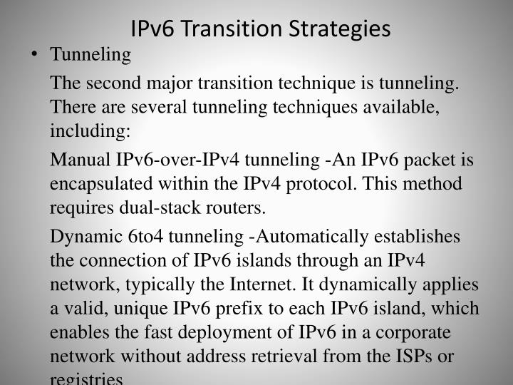 IPv6 Transition Strategies