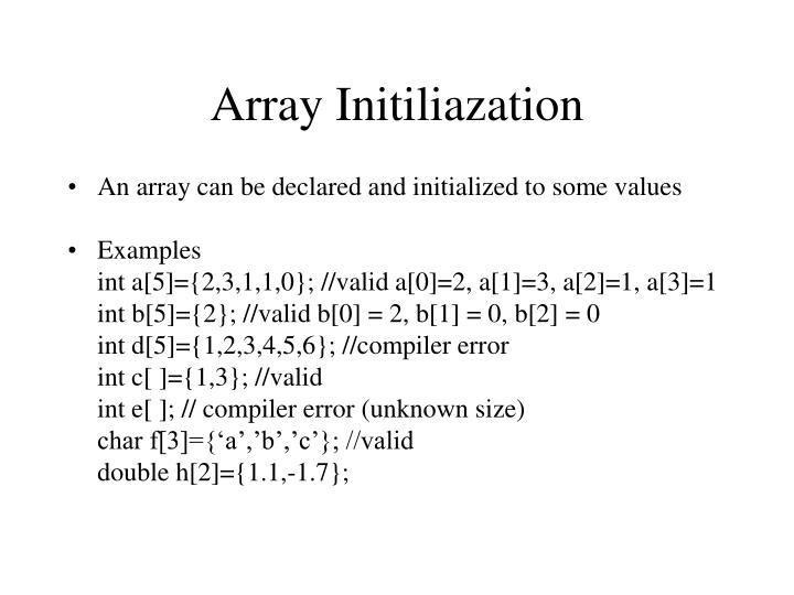 Array Initiliazation
