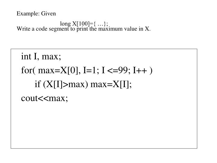 Example: Given