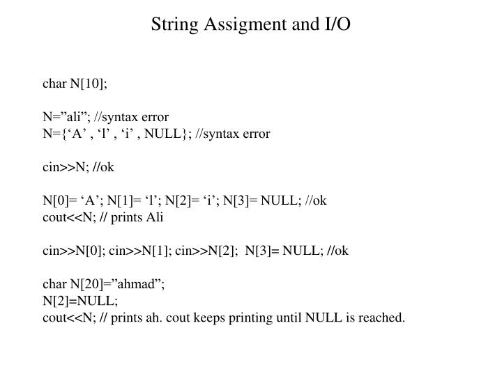 String Assigment and I/O