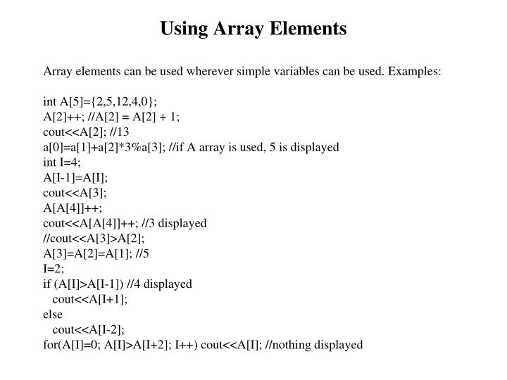 Using Array Elements