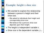 example height x shoe size