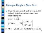 example height x shoe size4