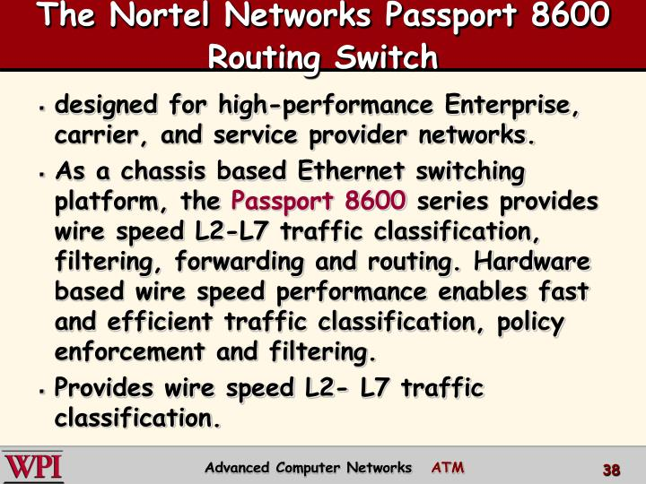 The Nortel Networks Passport 8600 Routing Switch