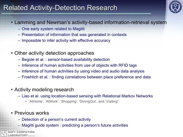 Related Activity-Detection Research