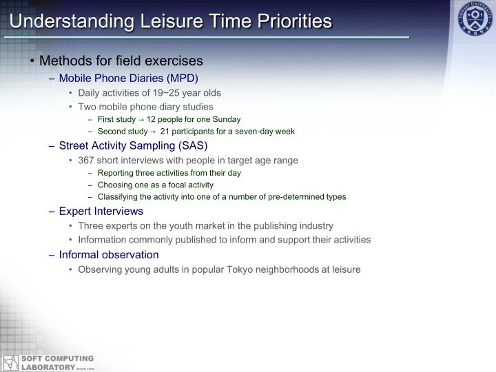 Understanding Leisure Time Priorities