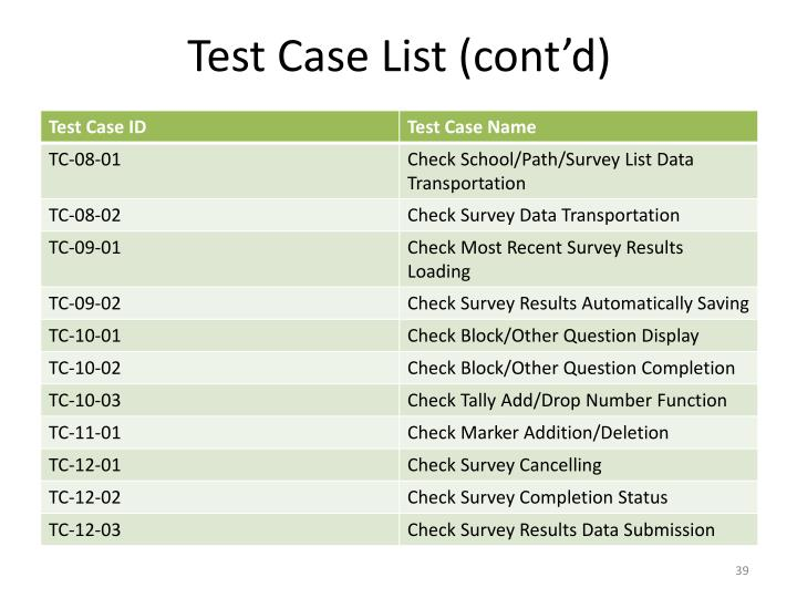 Test Case List (cont'd)