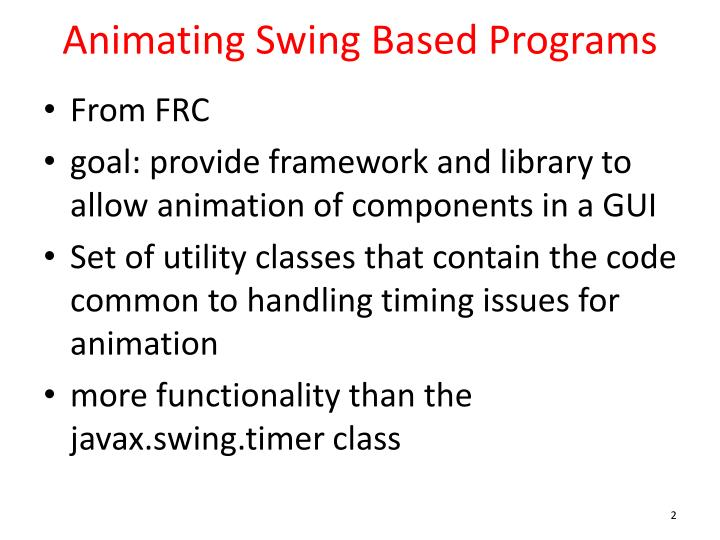 Animating swing based programs
