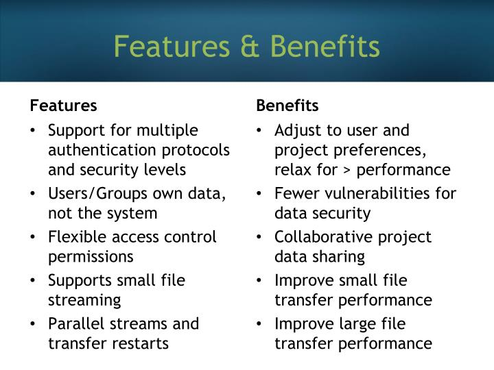 Features & Benefits