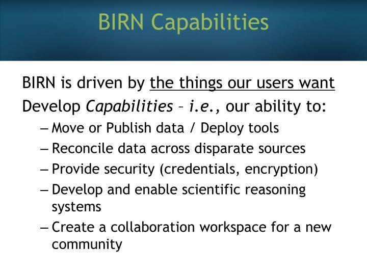 BIRN Capabilities