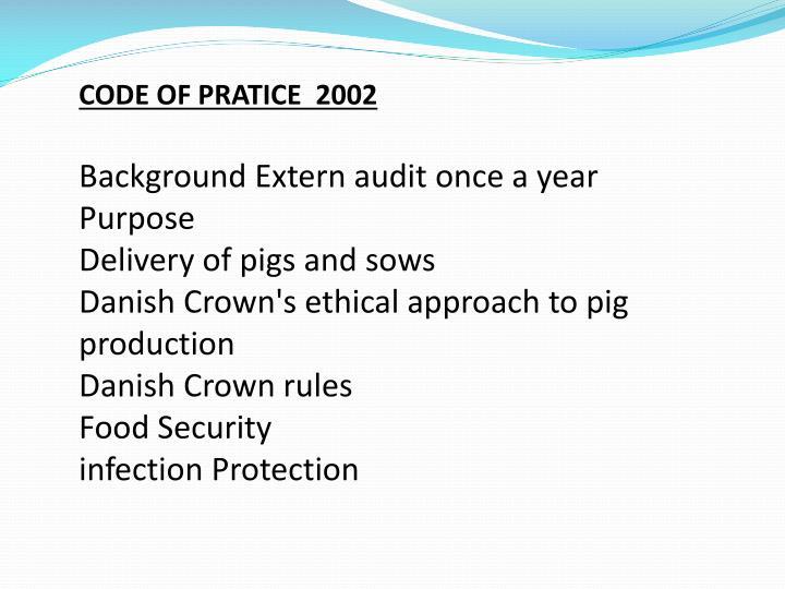 CODE OF PRATICE  2002