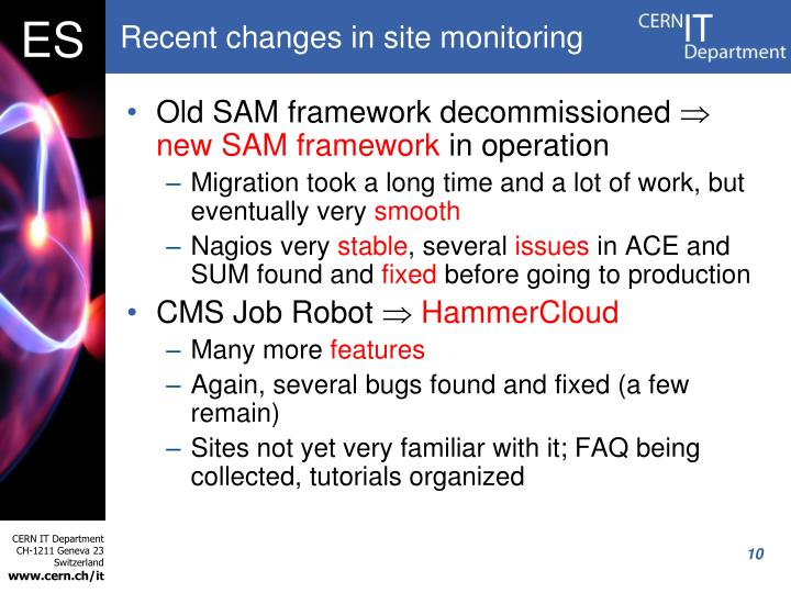Recent changes in site monitoring