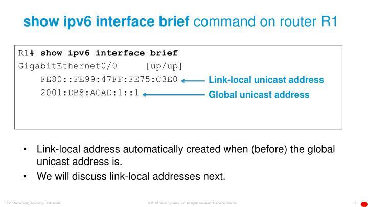 show ipv6 interface brief