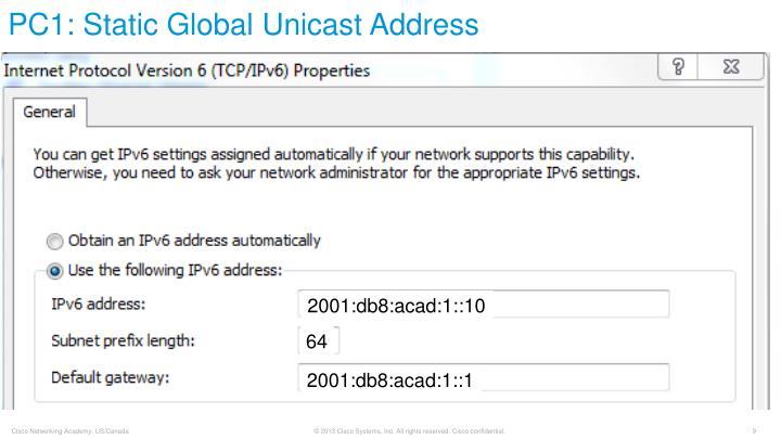 PC1: Static Global Unicast Address