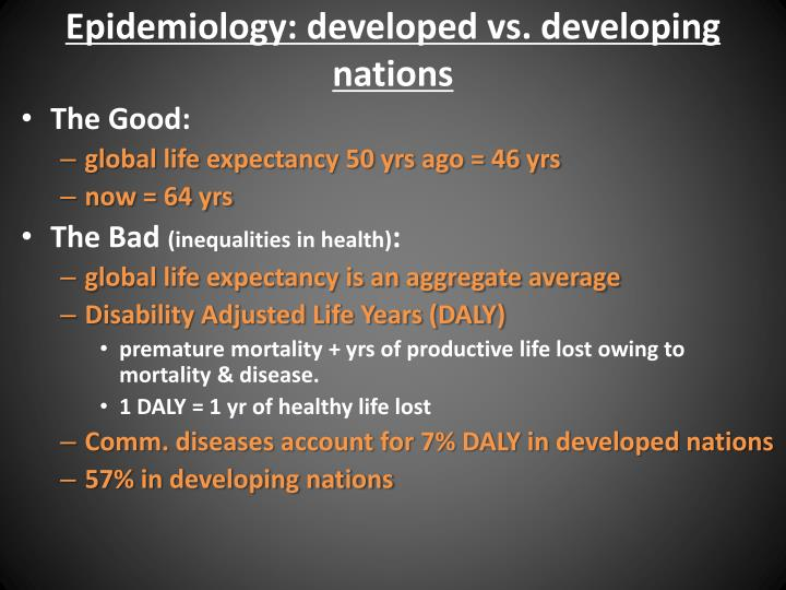 Epidemiology: developed vs. developing nations