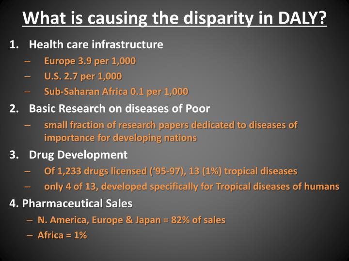 What is causing the disparity in DALY?