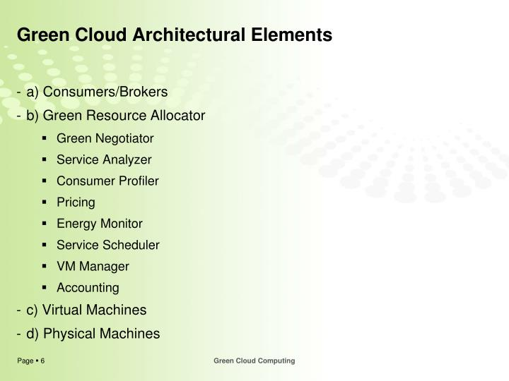 Green Cloud Architectural Elements