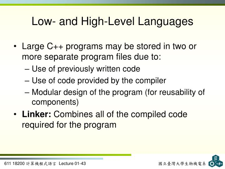 Low- and High-Level Languages