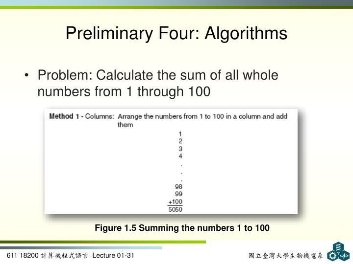 Preliminary Four: Algorithms