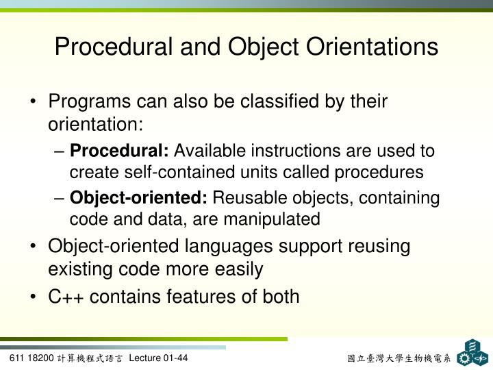 Procedural and Object Orientations