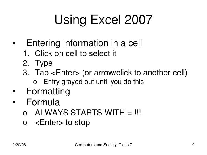 Using Excel 2007
