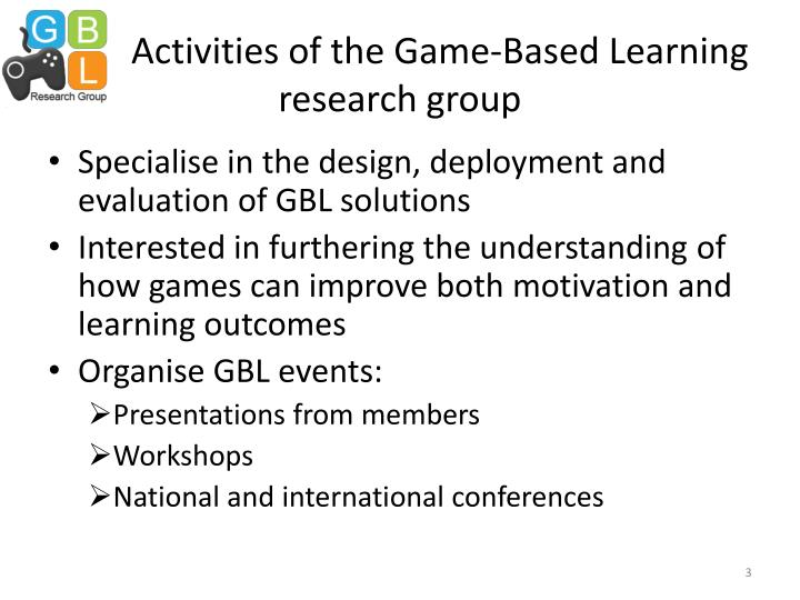 Activities of the Game-Based Learning research group