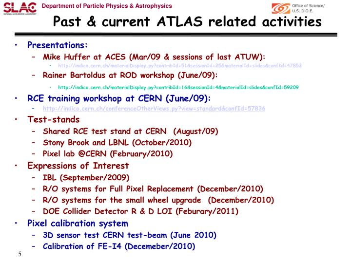 Past & current ATLAS related activities
