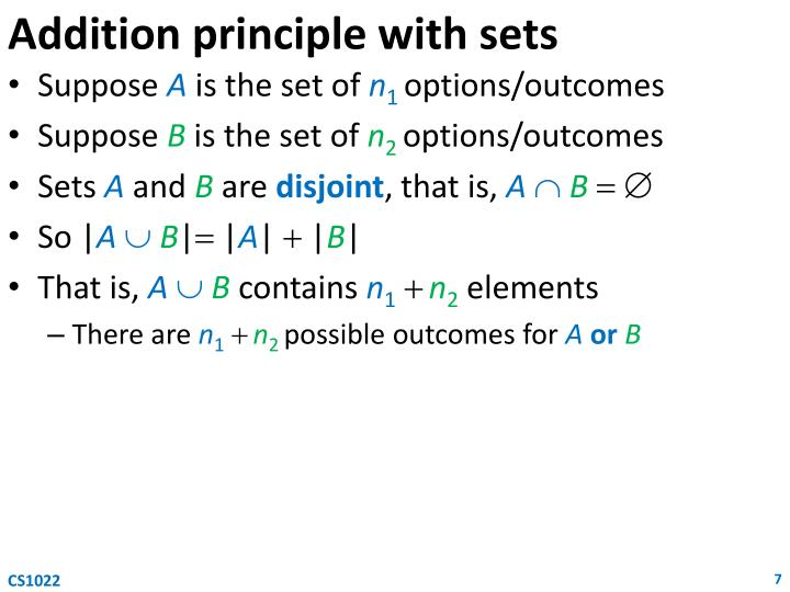 Addition principle with