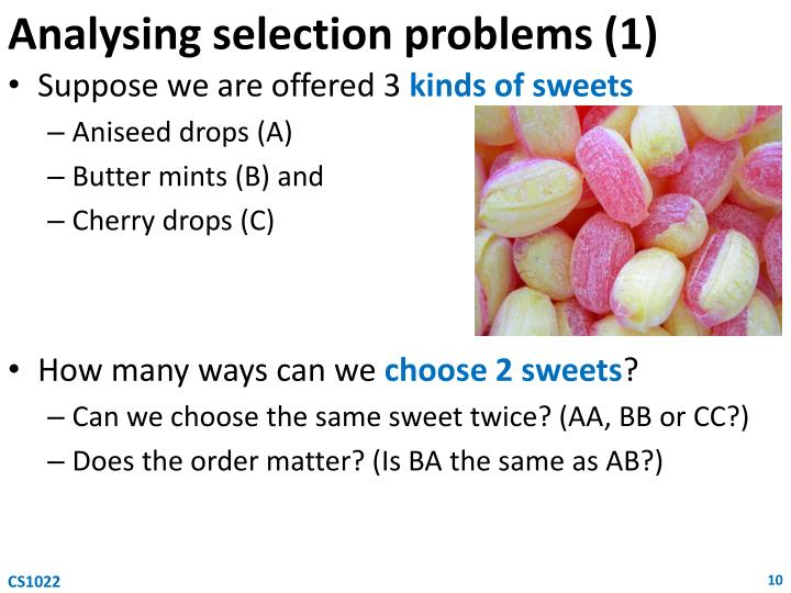 Analysing selection problems (1)