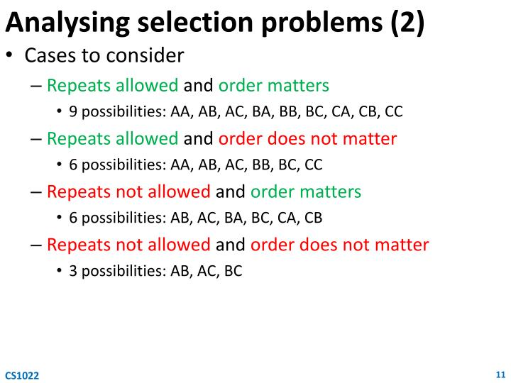 Analysing selection problems (2)