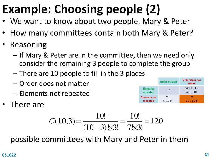 Example: Choosing people (2)