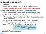 k combinations 1