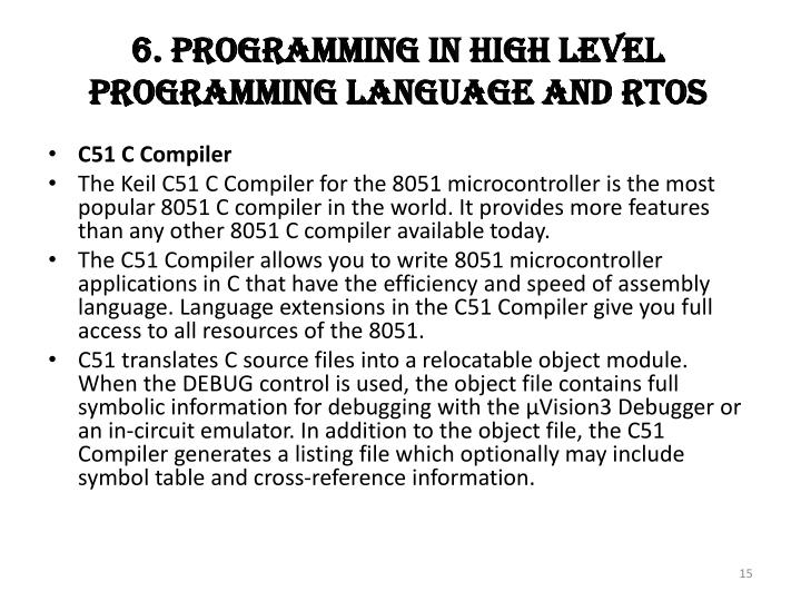 6. Programming In High Level Programming Language And