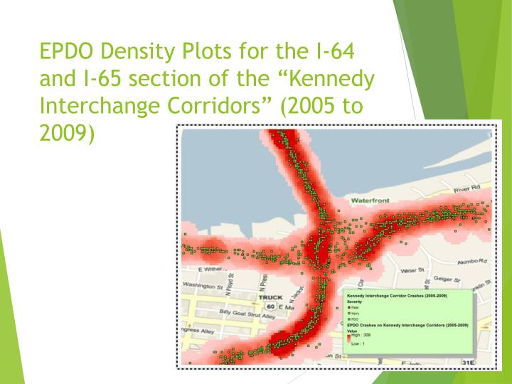 "EPDO Density Plots for the I-64 and I-65 section of the ""Kennedy Interchange Corridors"" (2005 to 2009"