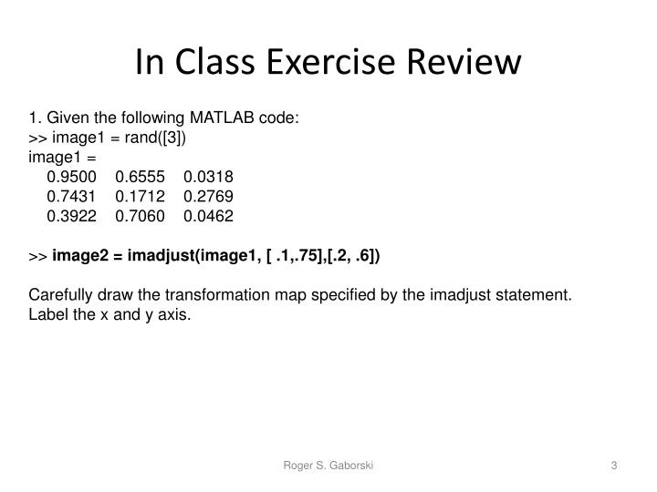 In class exercise review