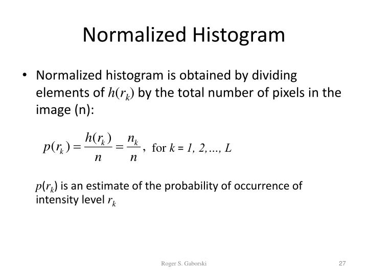 Normalized Histogram
