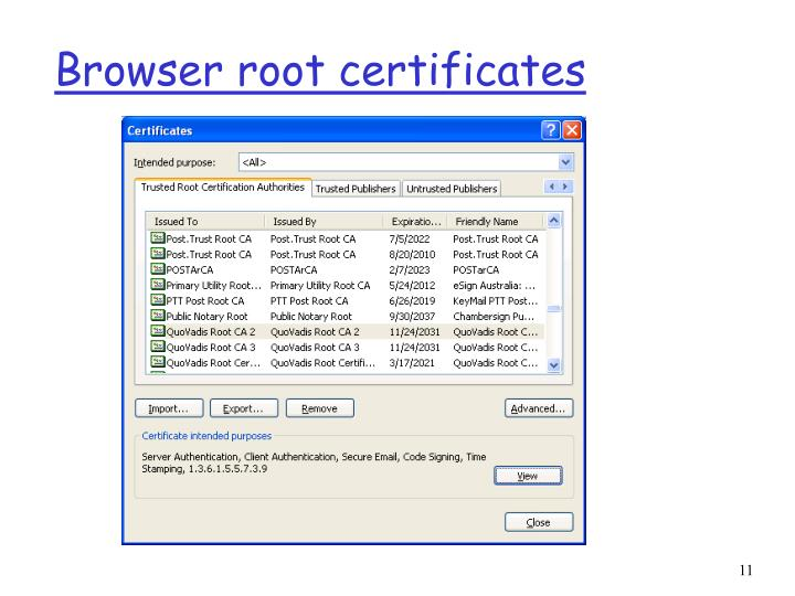 Browser root certificates