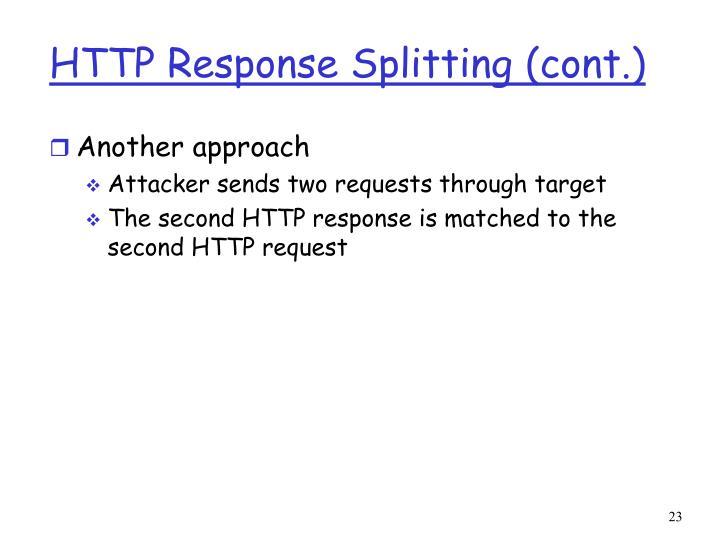 HTTP Response Splitting (cont.)