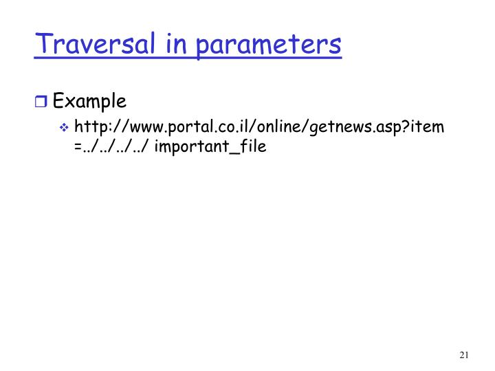 Traversal in parameters