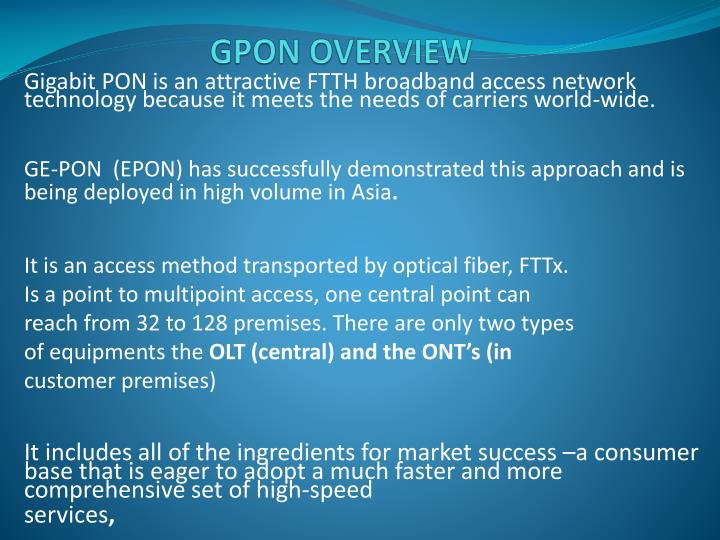 GPON OVERVIEW